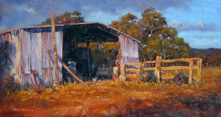 shed landscape in oil andy dolphin
