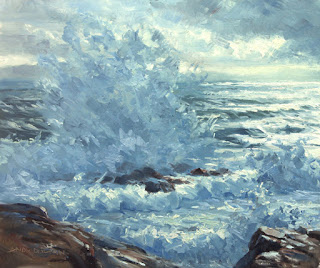 Seascape oil sketch by Andy Dolphin