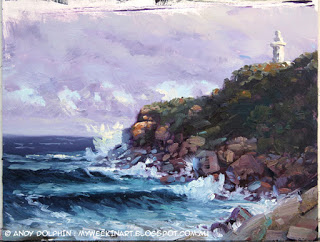 Torndirrup, the Gap, Cave Point Lighthouse, seascape oil painting by Andy Dolphin.