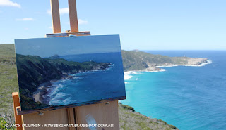 location plein air seascape in oil by Andy Dolphin