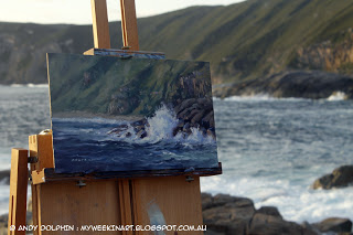 Plein air seascape painting in oils on location. By Andy Dolphin.