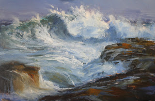 Lights Beach, seascape oil painting by andy dolphin