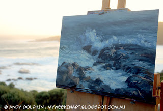 Lowlands Beach plein air seascape oil painting. By Andy Dolphin.