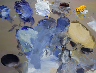 Seascape oil painting palette. Andy Dolphin.