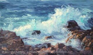 Plein air seascape painting in oils. By Andy Dolphin.