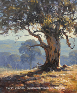 Karri tree. Plein air landscape oil painting by Andy Dolphin.