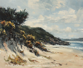 Misery Beach, Albany. Pleain air seascape in oil by Andy Dolphin