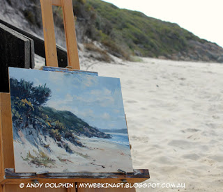 Location. Misery Beach, Albany. Pleain air seascape in oil by Andy Dolphin
