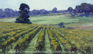 plein air landscape vineyard by Andy Dolphin