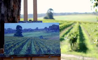 location plein air landscape vineyard by Andy Dolphin