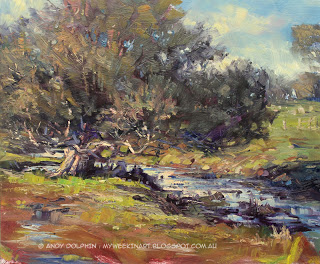 Winter creek plein air landscape painting by Andy Dolphin