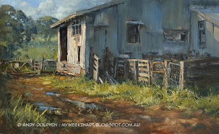 Shearing shed plein air oil painting by Andy Dolphin