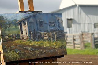 Plein air oil painting, shearing shed, on location