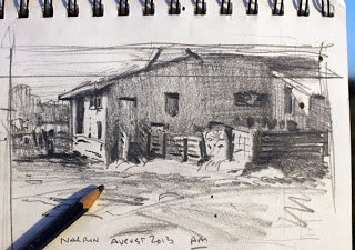 Shearing shed plein air thumbnail sketch by Andy Dolphin