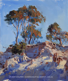 Salmon Gum tree, Newdegate - plein air oil painting Andy Dolphin