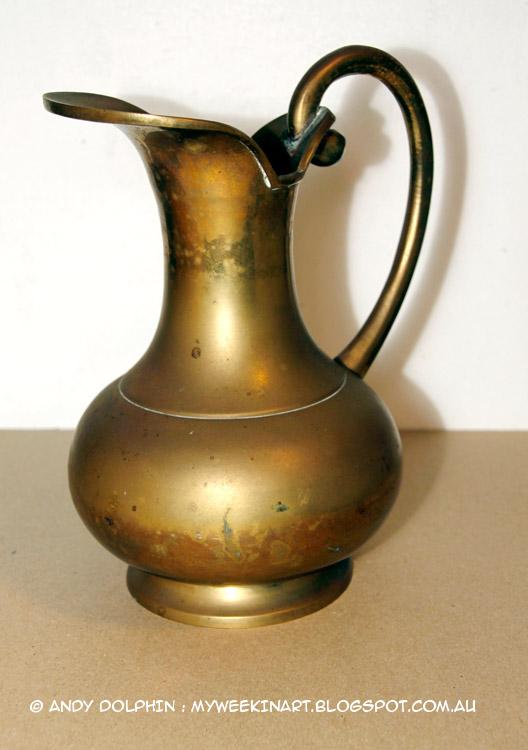 tarnished unpolished brass Indian ewer pitcher jug
