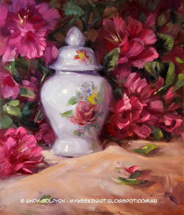 Miniature Chinese vase still life in oil by Andy Dolphin