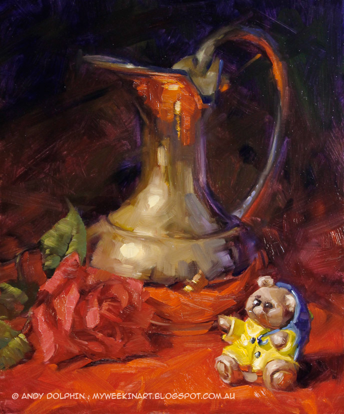 Still life oil painting with brass jug pitcher and ceramic bear by Andy Dolphin