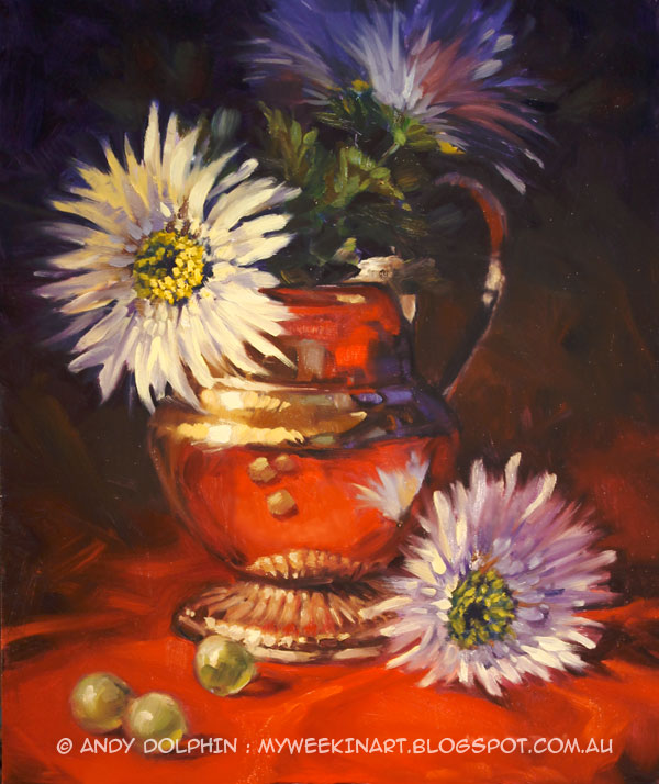 Still life oil painting. Brass jug with flowers by Andy Dolphin.