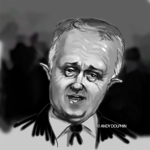 Malcolm Turnbull PM digital caricature 2015 by Andy Dolphin