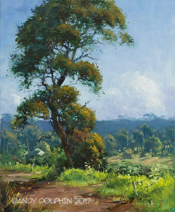 Plein air oil painting of roadside tree by Andy Dolphin