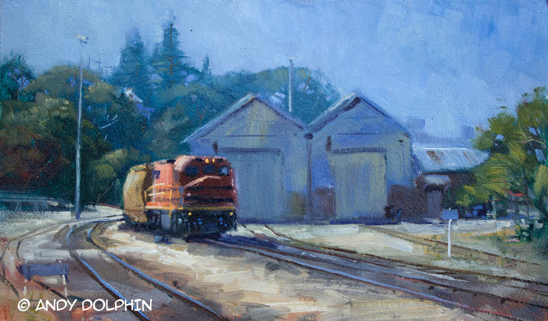 freight train, railway, rail yard plein air oil painting by Andy Dolphin - albany western australia
