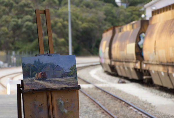freight train plein air painting by Andy Dolphin - albany western australia