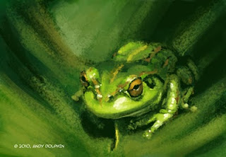 green tree frog digital painting