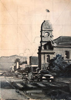 albany oil painting - stage 1 - by andy dolphin