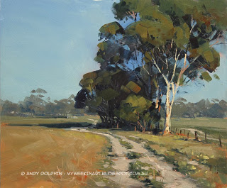 Salmon Gum tree, Newdegate - plein air oil painting landscape Andy Dolphin