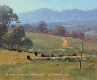 Plein air landscape oil painting - cattle - Andy Dolphin