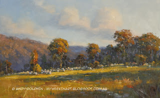 Plein air landscape oil painting - sheep - Andy Dolphin