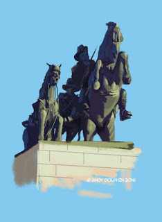 Digital painting on iPad, Procreate. Anzac, Desert Mounted Corps Memorial Statue Albany.